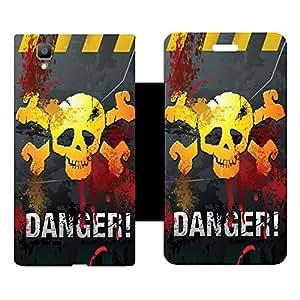 Skintice Designer Flip Cover with Vinyl wrap-around for Oppo F1, Design - Danger Mark
