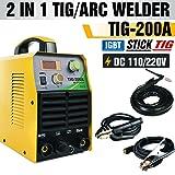 TOSENBA TIG Welder Tig/Arc/Stick Tig Welding Machine Dual Voltage 110/220V DC 200Amp Inverter IGBT MMA Digital Display