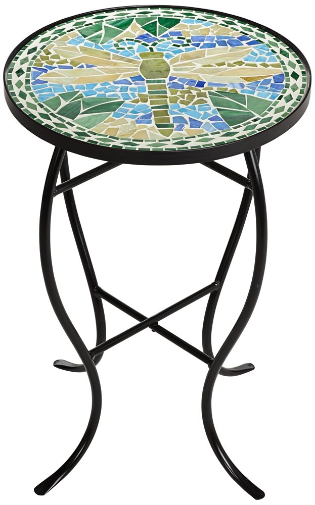 Dragonfly Mosaic Black Iron Outdoor Accent Table