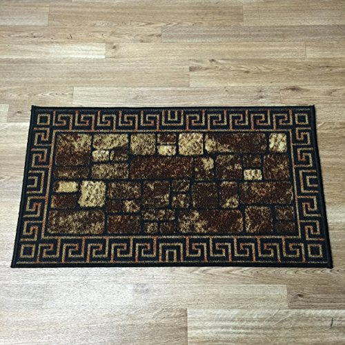 Anti-Bacterial Rubber Back Home and KITCHEN RUGS Non-Skid/Slip 2x5 | Greek Key Meander Design Bricks | Decorative Runner Door Mats Low Profile Modern Thin Indoor Floor Area Rugs for Kitchen (Kitchen Rug With Rubber Backing compare prices)