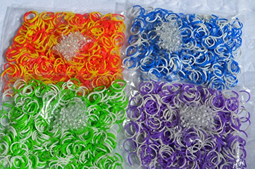 2400 pc Rainbow Tie Dye Rubber Bands - Loom Band Refill Set - 4 Colors with 100 Clips - Make Rubber Band Bracelets - Fully Compatible with All Rubber Band Looms - 600 Each of 4 Different Colors - Red+Yellow, White+Blue, White+Green, White+Purple - 100% Quality Guarantee - 1