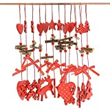 Generic Mixed : 12pcs/L MIX Hand Made Reindeer Christmas Decoration Wood Heart With Small Bell Hanging Decor Christmas...