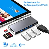 ?Upgraded Version? Microsoft Surface Pro 6/Pro 5/Pro 4 Hub Docking Station with 4K HDMI Port,3X USB 3.0 Ports(5Gps),SD/TF Slot Momery Card Reader Converter Combo Adaptor for Surface Aluminum Alloy (Color: E-SH759)