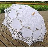 White Wedding Lace Parasol Umbrella Victorian Lady Costume Accessory Bridal Party Decoration Photo Props