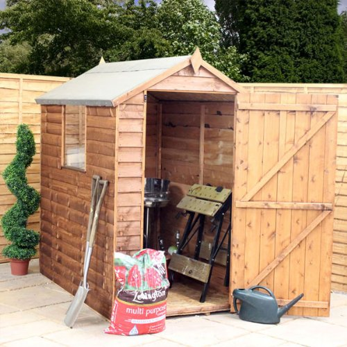 6ft x 4ft Overlap Apex Wooden Storage Shed - Brand New 6x4 Wood Sheds