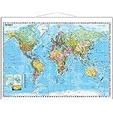 Weltkarte deutsch Großformat: Wandkarte mit Metallbeleistung