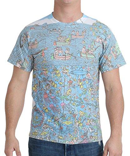 Men's Where's Waldo Map Sublimation T-Shirt, White, X-Large