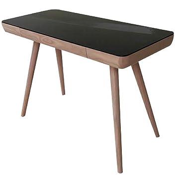 Bureau en bois et métal avec plateau en verre, coloris noir - Dim : H 55 x L 75 x P 110 cm - PEGANE -