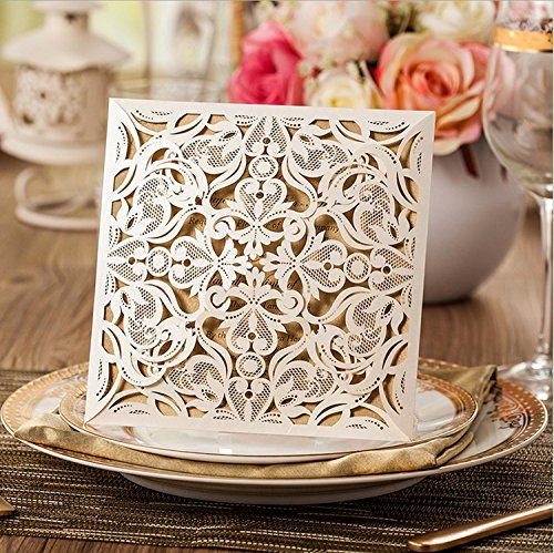 Doris Home Square Beige Laser-cut Lace Flower Pattern Wedding Invitations Cards, 50 pcs