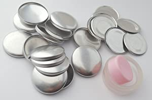 100 ButtonsUCover Size 45 FLAT Back Cover Buttons and Assembly Tool Kit (Color: Silver Metallic, Tamaño: Size 45 Flat Backs)