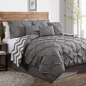 7 Piece Plush Modern Pinch Pleated Comforter Set, Colors Navy Blue, Taupe, Grey - All Sizes (King, Grey)