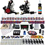Solong Tattoo® Complete Tattoo Kit 2 Pro Machine Guns 54 Inks Power Supply Foot Pedal Needles Grips Tips TK225