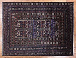 10\'x13\' Navy Blue Tribal Afghan Wool and Wool Hand Knotted Wool Area Rug P1395