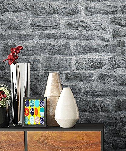 steintapete vlies grau natur stein sch ne edle tapete im. Black Bedroom Furniture Sets. Home Design Ideas