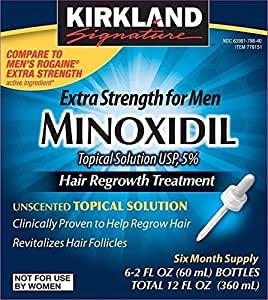 Kirkland  Minoxidil 5% Extra Strength Hair Regrowth for Men, 6 Month Supply