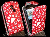 Goldstar® Flower PU Leather Flip Case Cover For Various Samsung Models, Galaxy Ace, S2, S3 Mini, Chat (Red Paw, Cha@t335 Chat S3350)