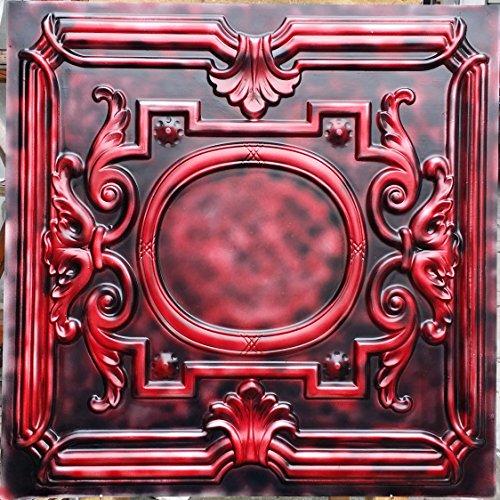 PL15peint vieilli plafond Panneaux muraux décoration carrelage Rouge Fond Noir en relief photosgraphie 10pieces/Lot