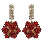 Awesome Designer Flower Theme Red Color Earrings By Lazreena