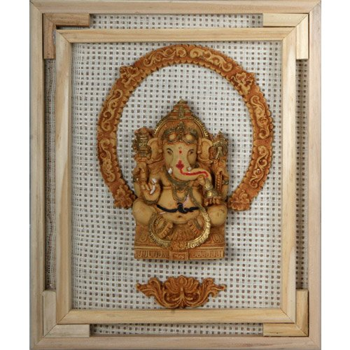 Recycled Board Ganesh in a Wood Frame