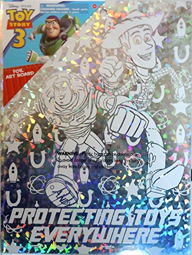 "Disney Pixar Toy Story Foil Wall Decoration Art Board (7 1/2"" X 10"") (Woody & Buzz Lightyear Silver Foil Art Board ""Protecting Toys Everywhere"""