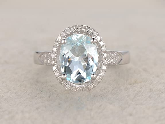 Voguegem VS 7*9mm Oval Cut Blue Aquamarine Ring Halo Diamonds Solid 14K White Gold Engagement Ring Gemstone Ring