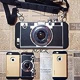 【 オリジナル強化ガラスフィルム ・ 充電ケーブル ・ ホームボタンステッカー ・ ストラップ 付き】 Quncle Luxury 大人気 iPhoneSE iPhone5s iPhone5 iphone6 iphone6s ケース かわいい ☆ カメラみたいなiPhoneケース (iPhone SE/5/5s, ブラック )