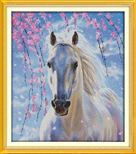 YEESAM ART New Cross Stitch Kits Advanced Patterns for Beginners Kids Adults - White Horse 11 CT Stamped 46×53 cm - DIY Needlework Wedding Christmas Gifts (Horse Cross Stitch Charts compare prices)