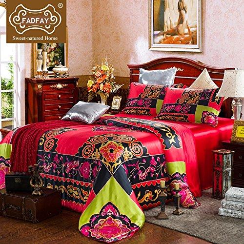 FADFAY Luxury Silk Boho Bedding Set Bohemian Style Bedding Queen Size 5 Pieces