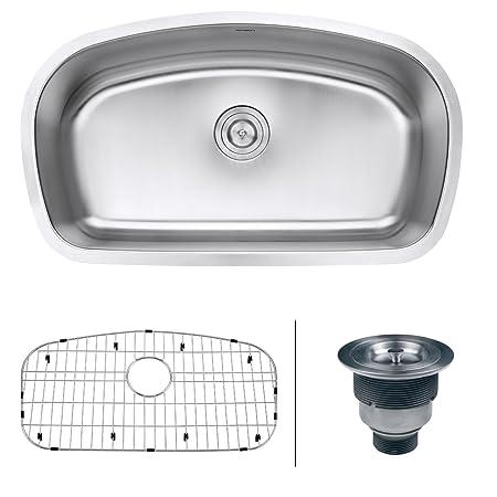 "Ruvati RVM4210 Undermount 16 Gauge 33"" Kitchen Single Bowl Sink, Stainless Steel"