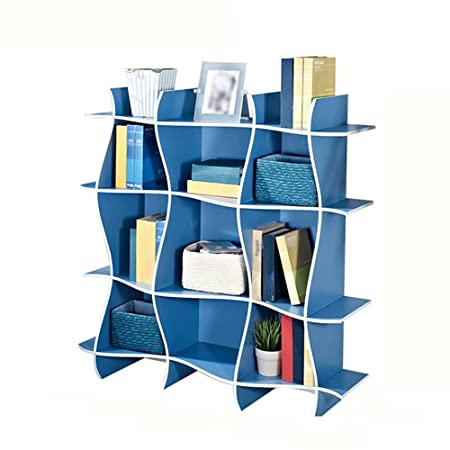 XIAOXIAO Bookshelf Modern Creative Simplicity Multi-layer Multifunzione Two Color Opzionale (118 * 34 * 118CM) Facile da spostare ( Colore : Blu )