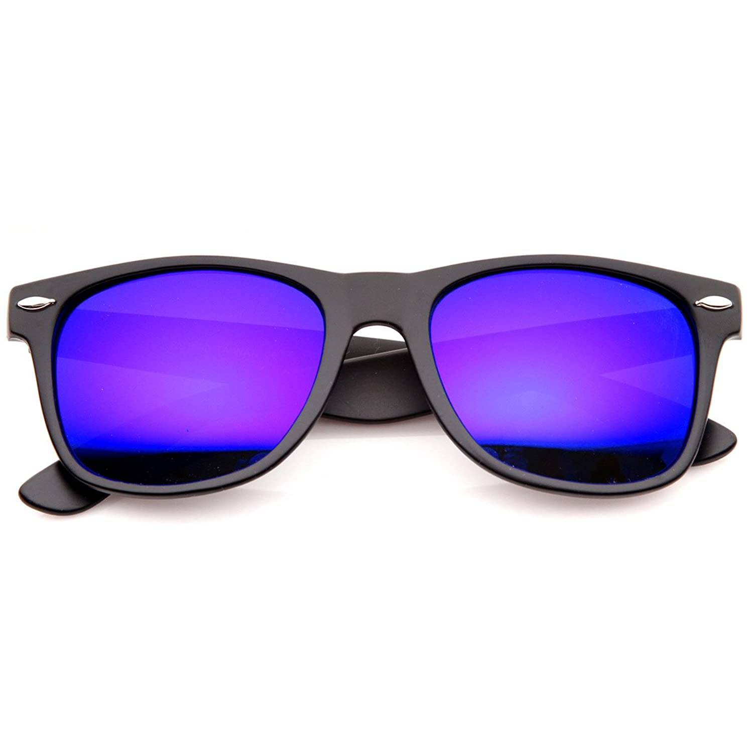 Flat Matte Reflective Revo Color Lens Large Wayfarers Style Sunglasses - UV400 (Black Purple)
