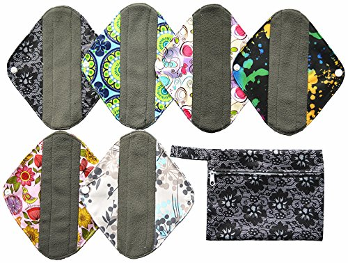 7pcs Set 1pc Mini Wet Bag +6pcs 8 Inch Charcoal Bamboo Mama Cloth/ Menstrual Pads/ Reusable Sanitary Pads / Panty Liners (Mama Cloth Pads compare prices)