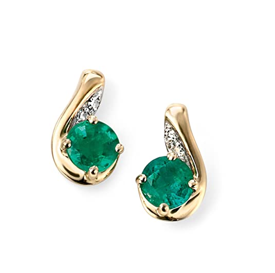 9ct Yellow Gold simple diamond and emerald earrings