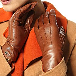 Elma Women's Touch Screen Italian Nappa Leather Winter Texting Gloves (8, Saddle yellow)