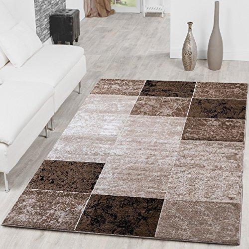 alfombra-asequible-cuadros-diseno-modern-salon-alfombra-marron-beige-crema-top-precio-160-x-220-cm