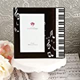 BLACK & WHITE Beveled Glass MUSIC Theme Picture Frame