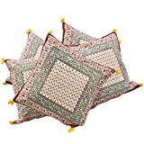 Little India Sanganeri Bootie Print Cotton 5 Piece Cushion Cover - Beige