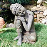 Large Stone Look Sitting Sleeping Buddha Garden Ornament