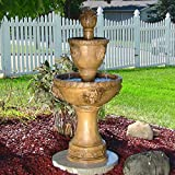 2-Tier Contemporary Lion Fountain, 46 Inch Tall