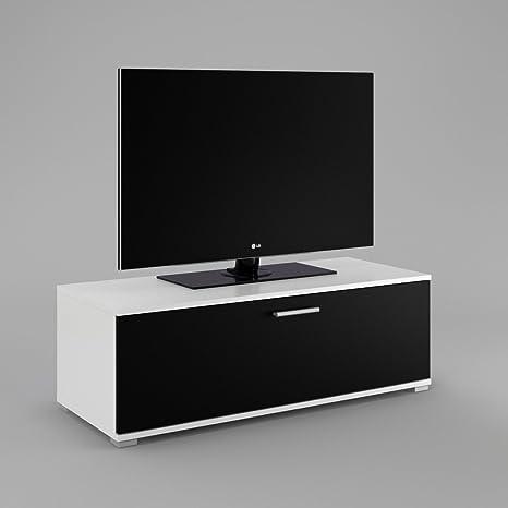 Mueble bajo-Cómoda TV2tarjeta mesa Armario Muebles Cuerpo: Blanco Mate frontal: Negro Mate