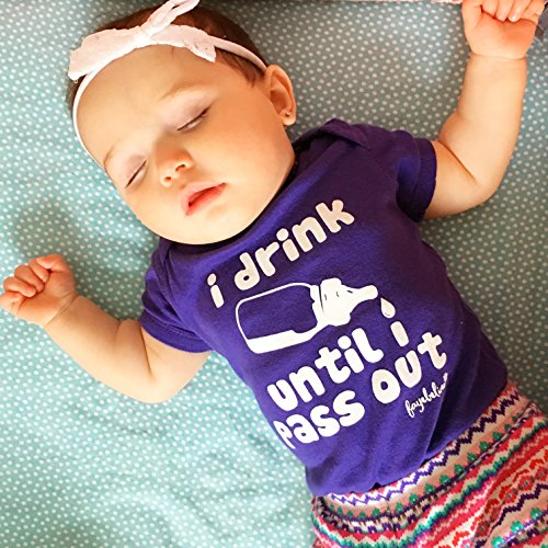 """Funny Baby Onesies Fayebeline Boutique Quality """"I Drink Until I Pass Out"""" Purple 6-12M"""