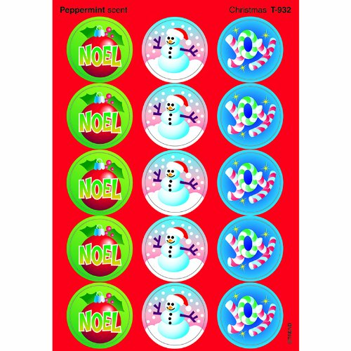 Trend Enterprises Christmas Large Roundstinky Stickers (T-932) - 1