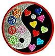 Yin Yang Peace Paix Symbole Patch '' 7,5 x 7,5 cm '' - �cusson brod� Ecussons Imprim�s Ecussons Thermocollants Broderie Sur Vetement Ecusson Hippie