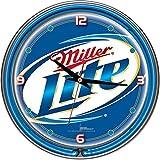 """Miller Lite Chrome Double Ring Neon Clock, 14"""""""