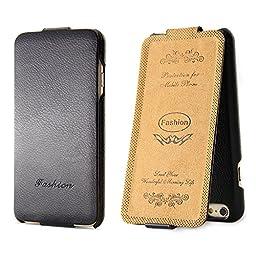iPhone 6S Case,BELK [Up & Down] Series Flip Genuine Leather Case - [RUB BUMPER] Vertical Folio Case for iPhone 6 / 6S, 2015 SEP - Black