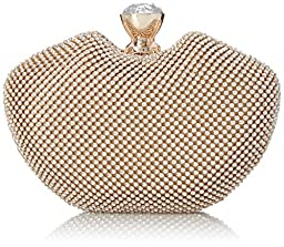 MG Collection Imelda Seashell Clutch, Gold, One Size