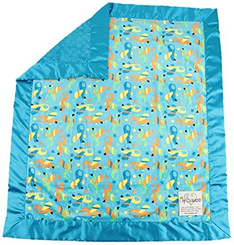 """My Blankee Zoom Minky w/ Minky Dot Turquoise Baby Blanket, 30"""" x 35"""""""