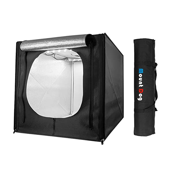 MountDog Photo Studio Light Box 20/50cm Adjustable Brightness Shooting Tent Portable Professional Booth Table Top Photography Lighting Kit 120 LED Lights 3 Colors Backdrops (White Black Orange) (Tamaño: Studio Tent)