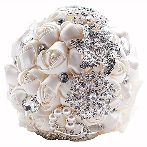 New Ivory Rose Satin Flower Pearl Brooch and Rhinestones Bridal Bouquet Wedding Party Décor for Bride/Bridesmaid