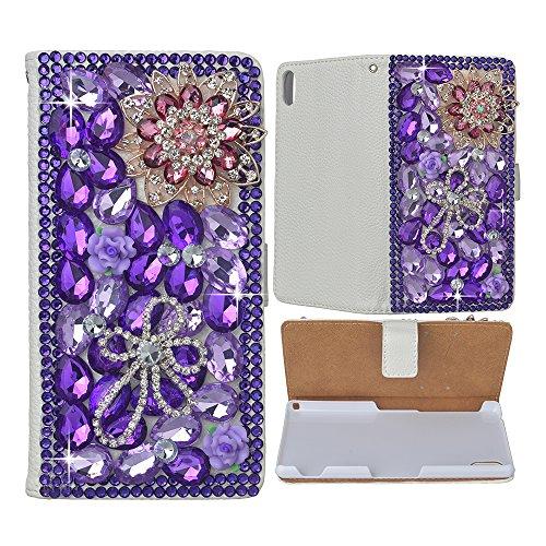 Evtech (TM) fiori e farfalle strass Crystal Glitter Custodia a Libro in Pelle PU Custodia a portafoglio con supporto per telefono e carte di credito